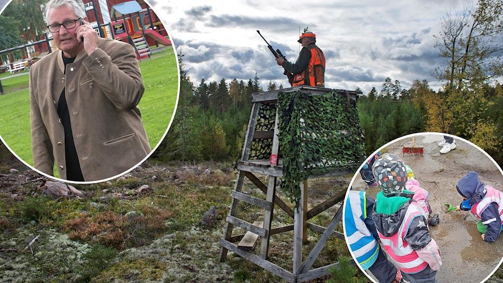 Ett kollage över en man som pratar i telefonen, en människa i jaktkläder som står uppe i ett jakttorn, samt barn som leker i lera.