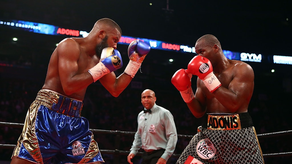TORONTO, ON - MAY 19: Adonis Stevenson (R) fights Badou Jack (L) during their WBC Light Heavyweight title fight at Air Canada Centre on May 19, 2018 in Toronto, Canada.   Vaughn Ridley/Getty Images/AFP