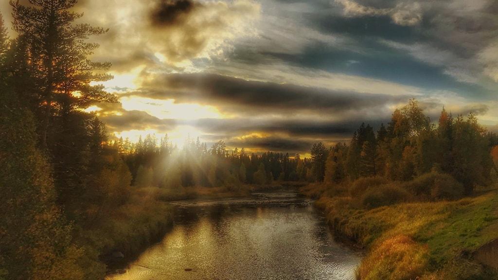 En vybild över ett vattendrag och solnedgång i höstiga färger.
