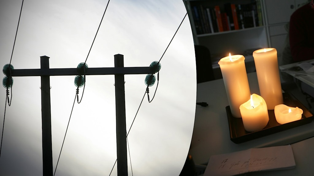 Två bilder: En elledning sett mot himlen, och brinnande stearinljus.