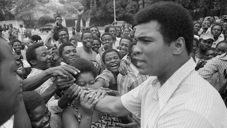 Muhammad Ali hyllas av glada kongoleser i Kinshasa inför matchen mot George Foreman, september 1974. Foto: AP Photo