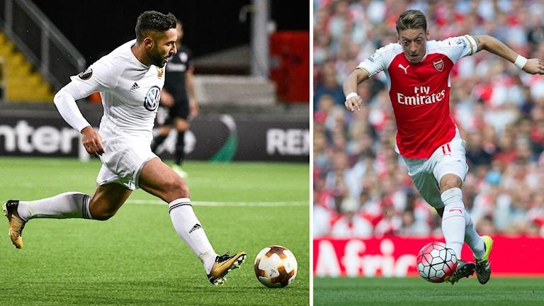 Bildsplit Saman Ghoddos, Östersunds FK/Mesut Özil, Arsenal FC