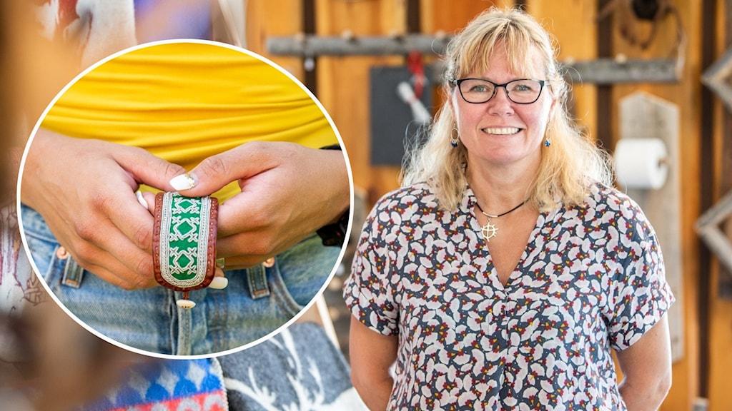 Till vänster en person som håller i ett broderat tennarmband och till höger kn kvinna som står inuti en samisk inredningsbutik.