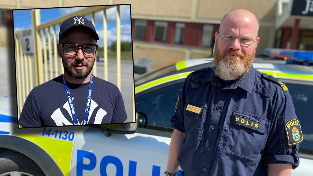 Till höger: En polis i uniform framför en polisbil. Infälld till vänster: En kille vid en gul gallergrind.