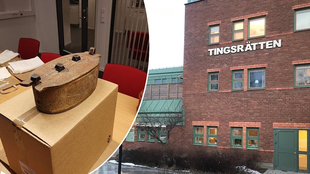 """Två bilder: En svepask och en tegelfasad som det står """"tingsrätt"""" på."""