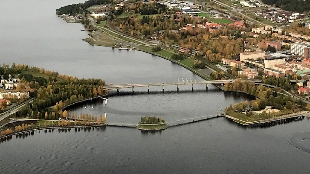 Östersund, flygplan, ovanifrån, stad, Jämtland, Frösöbron.