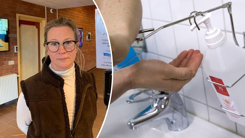 Till vänster en kvinna med uppsatt hår och glasögon som står i en korridor. Till höger en hand som tar handsprit i sjukhusmiljö.