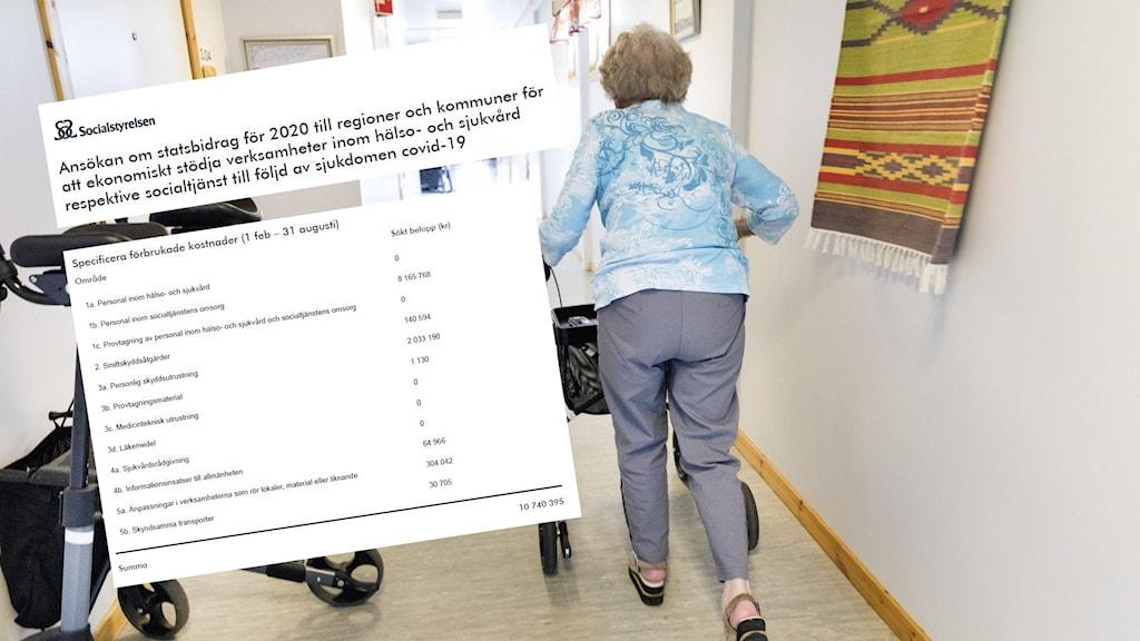 En kvinna som går med rollator i en korridor.