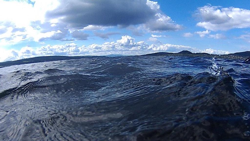 Närbild från ytan på Storsjön utanför Östersund.
