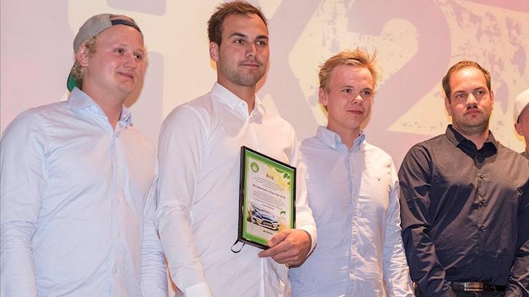 Årets rallycrossmekaniker (fr v): Marcus Svensson, Gustav Eliasson från Sällsjö, Johan Persson Mattsson och Robin Arvholm. Foto: Mads Höiland.