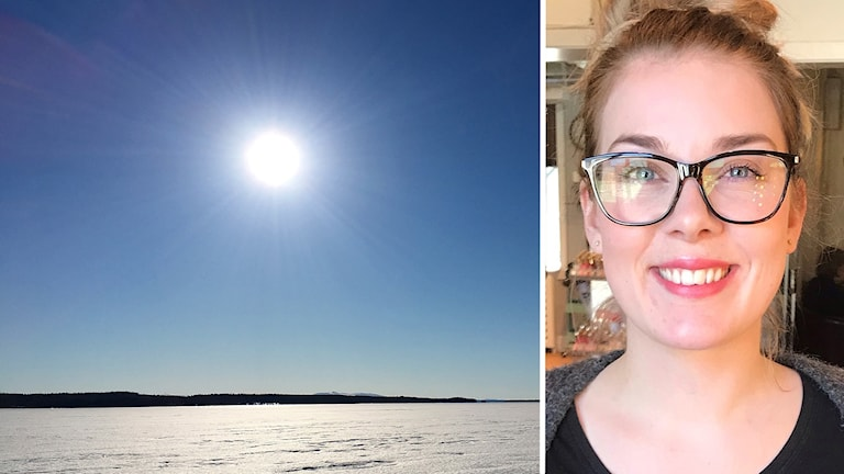 Kollage med bild på strålande sol över sjöis samt porträttbild ung kvinna