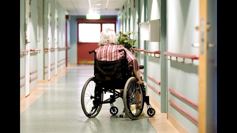 En kvinna i rullstoll på ett äldreboende. Foto: Pontus Lundahl / SCANPIX