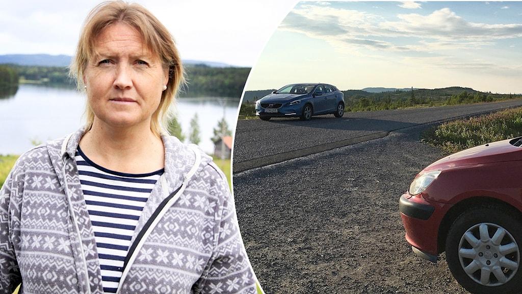 Porträttbild kvinna i stickad kofta samt bilar på asfalterad fjällväg