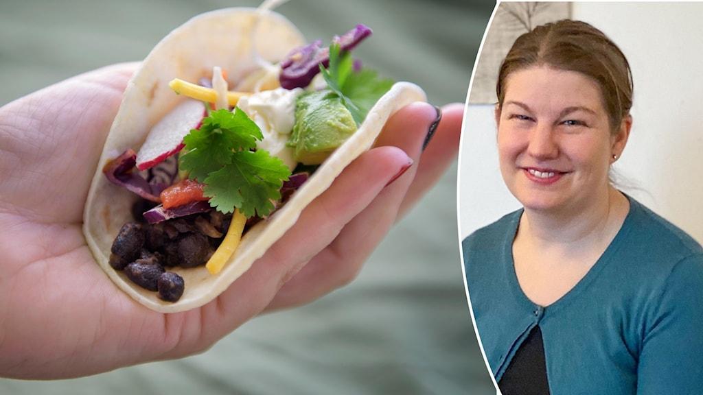 En mjuk taco med bönor och andra grönsaker hålls i en hand samt porträttbild leende kvinna med ljusbrunt hår och blågrön kofta