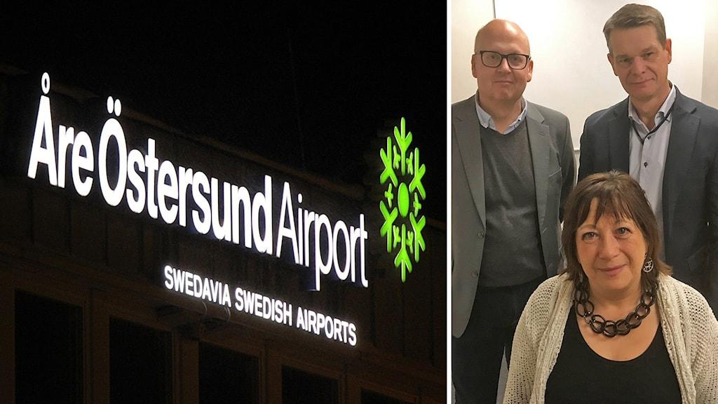 Två bilder: Fasadskylt Åre Östersund Airport lyser i mörkret samt gruppbild två medelålders män och en kvinna