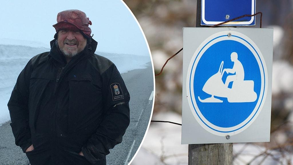 En man i varma kläder vid en väg och snö i bakgrunden inklippt i en bild med en skoterled.
