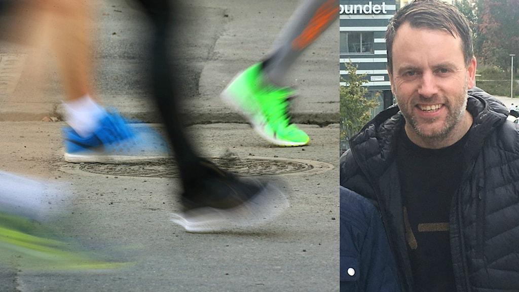 Springande ben på asfalt och en man som ler