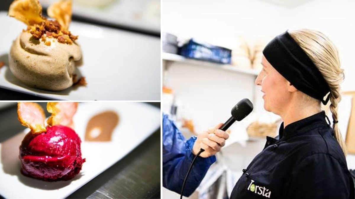 Två glassorter och en kvinna som får en mikrofon riktad i ansiktet
