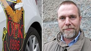 Andreas Wennerberg och en ÖFK-skylt