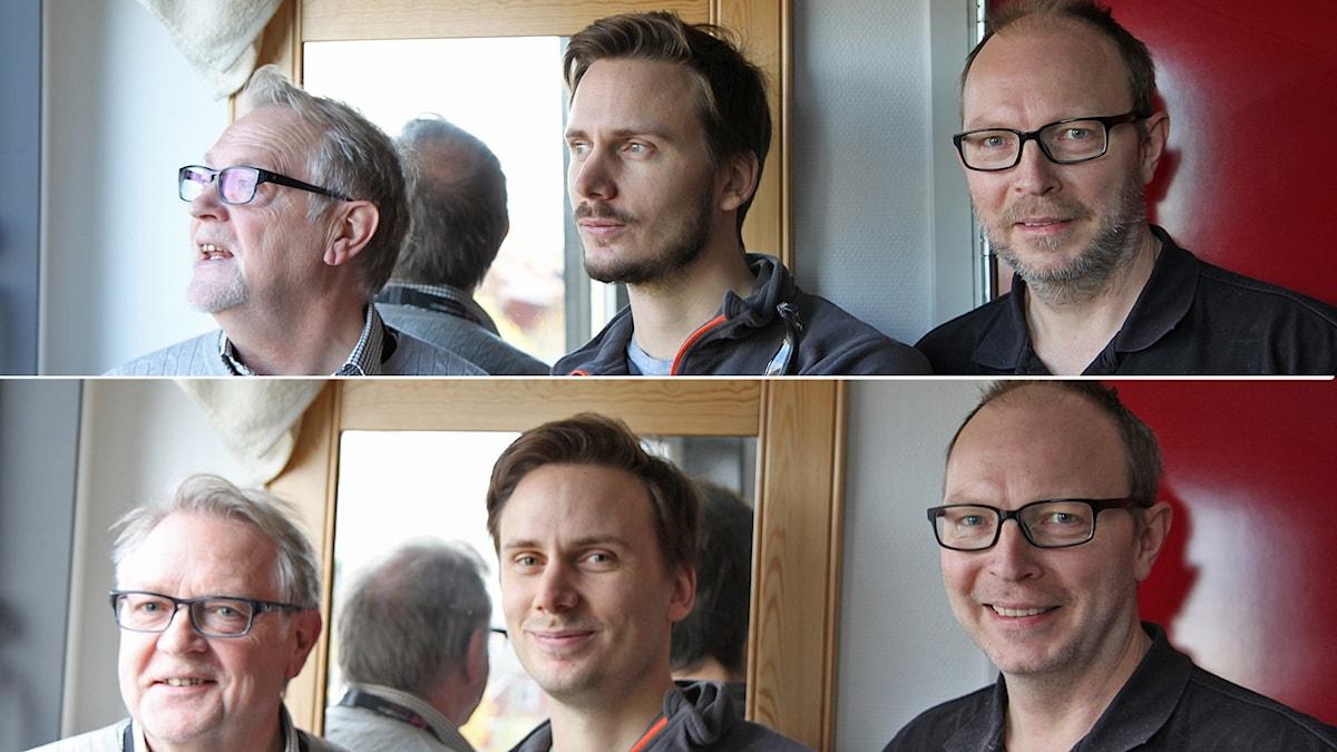 Bildkollage av tre män före och efter rakning
