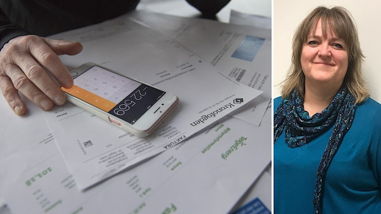 Person som sitter och betalar räkningar till vänster och kvinna med blå tröja och sjal till höger.
