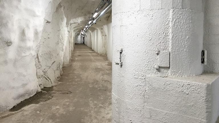 Ett bevarat skyttevärn vid en av ingångarna till skidtunneln i Gällö