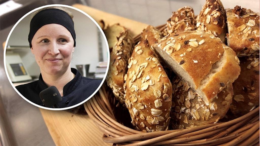 Brödkorg, med infälld på kvinnlig kock.
