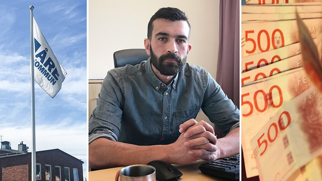 Tre bilder: Flaggstång med vit flagga med texten Åre kommun framför tegelbyggnad, porträttbild mörkhårig man med mörk skägg sitter vid skrivbord samt en mängd 500-lappar.