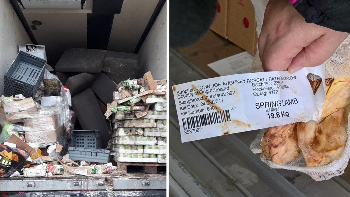 Två bilder: transportbil med sopor samt köttstycke med ursprungsmärkning