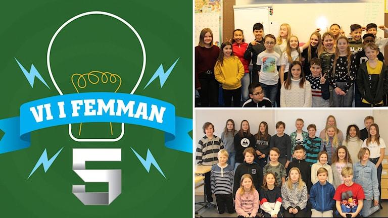 Tre bilder: Logotyp Vi i femman mot grön botten samt två klassfoton