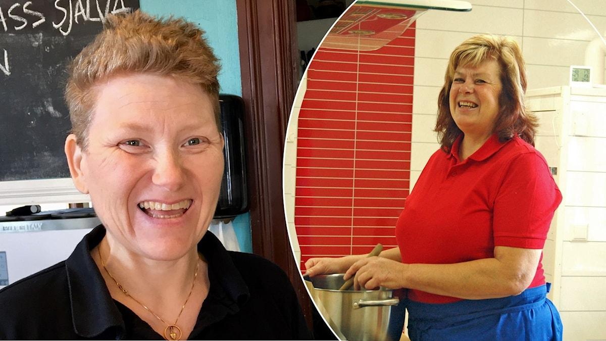 Två olika porträttbilder på två kvinnor. En kvinna i svart tröja som skrattar högt och en kvinna i rödtröja som står vid en gryta och ler.
