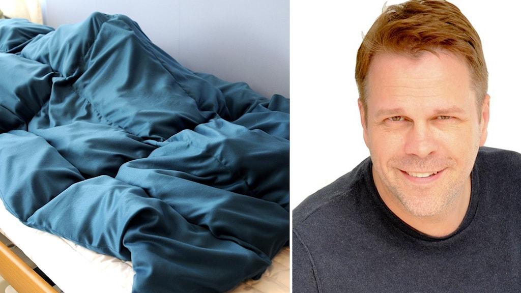 Till vänster en person som ligger under ett mörkt tyngdtäcke i en säng och till höger en porträttbild på en leende man.