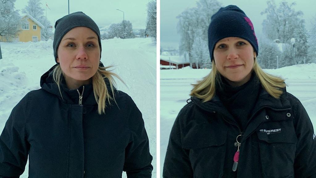 Två blonda kvinnor i svarta jackor och mössor ute i snöigt landskap