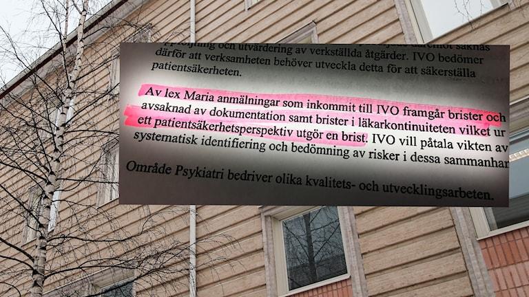 Östersunds sjukhus psykiatri Region Jämtland Härjedalen fasad IVO