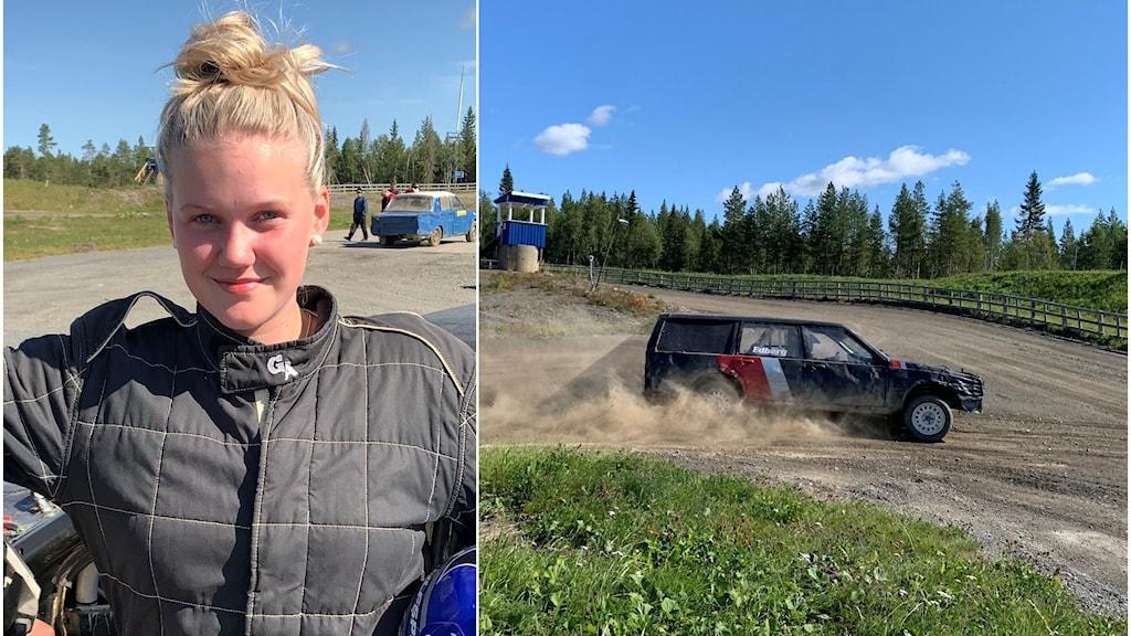 En ung tjej och en bild på en äldre bil.