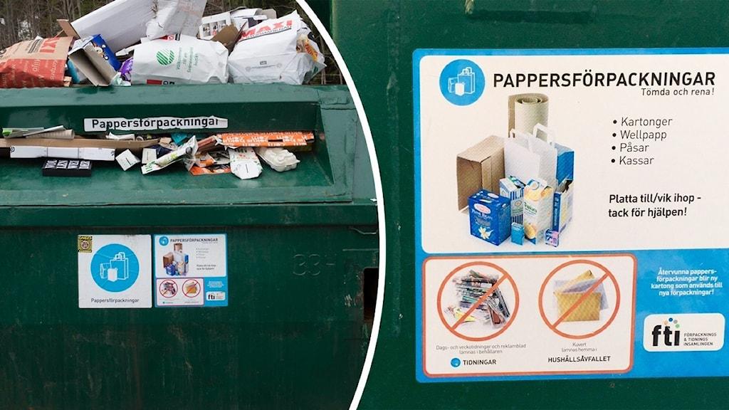 Till vänster en överfylld återvinningsstation med pappförpackningar, till höger en instruktion om vad man får slänga i återvinningsstationen.