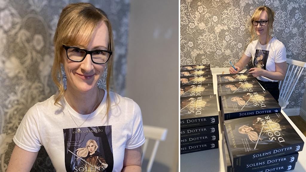 En leende rödhårig kvinna med glasögon som sitter vid ett bord och signerar böcker