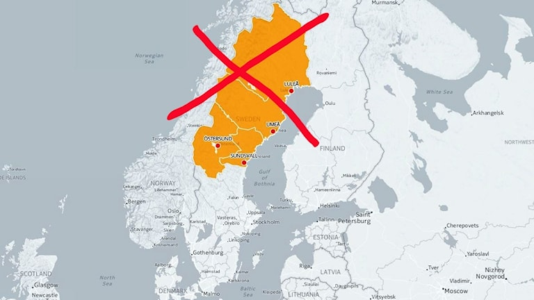 Sverigekarta med rött kryss övertänkt region med Jämtland, Norrbotten, Västerbotten och Västernorrland.