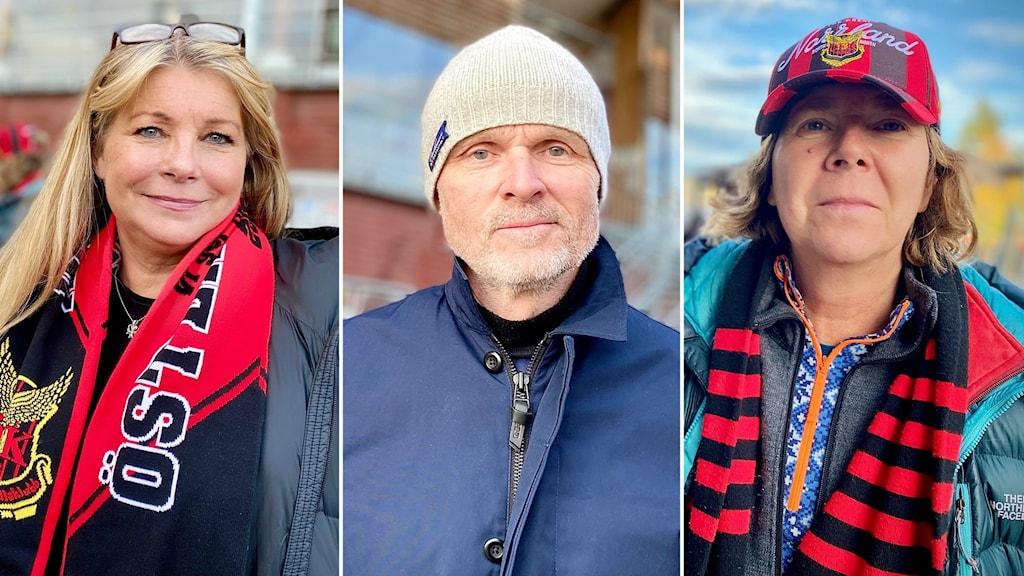 Tre porträttbilder fotbollspublik, 2 kvinnor med rödsvarta halsdukar och en man