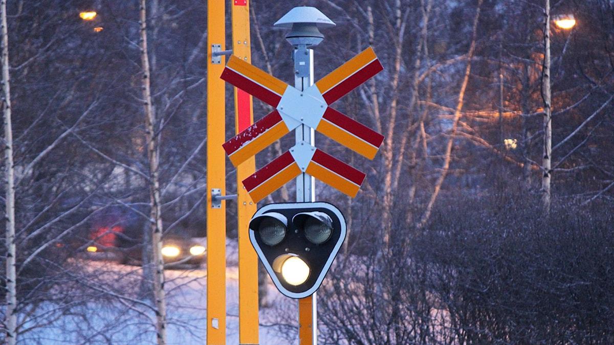 Järnvägssignal stad Östersund vinter. Foto: Lotta Löfgren/Sveriges Radio