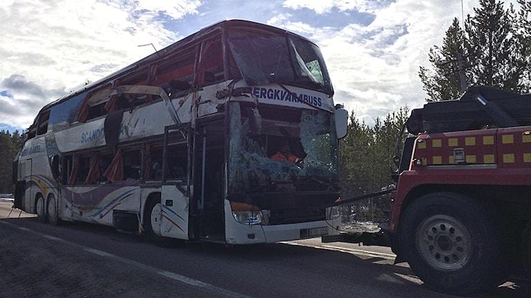 الحافلة التي كانت تقل الطلبة