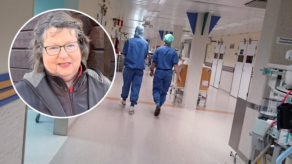 Kvinna i lockigt hår och brun jacka samt bild på sjukhuspersonal i korridor.