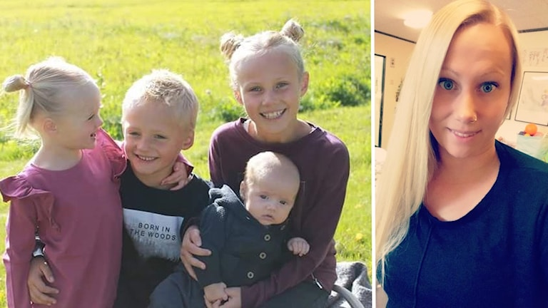 Fyra barn och mamman Pernilla Olsson. Foto: Privat
