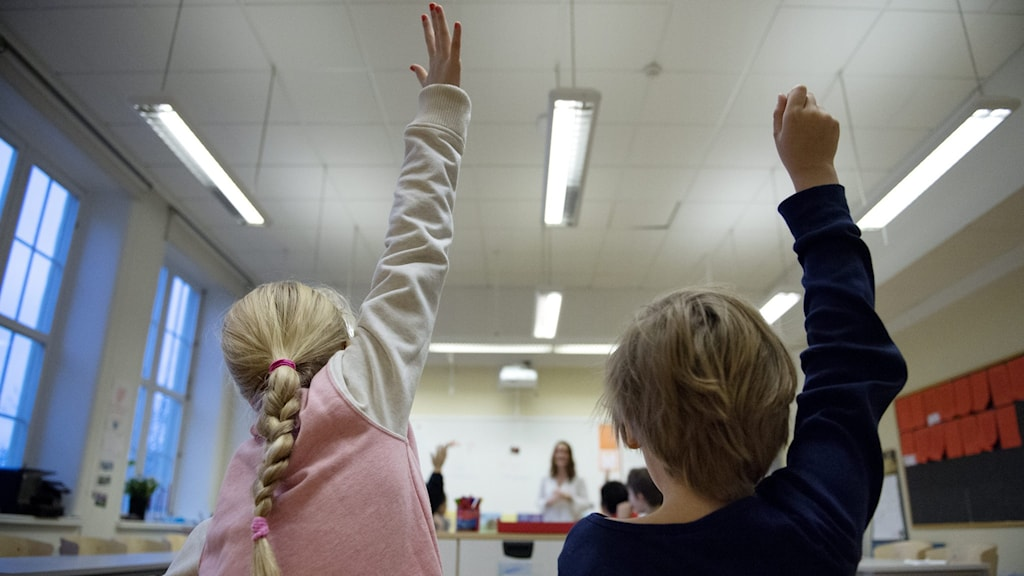 Flicka och pojke sitter i skolbänkar i klassrum och räcker upp handen