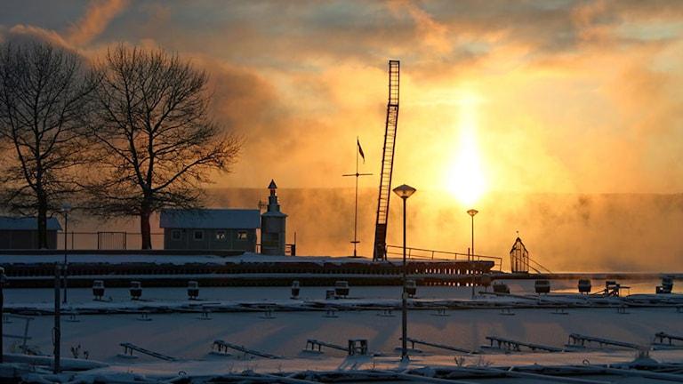 Badhusparken i vinterskrud. Foto: Marcus Frånberg/SR Jämtland