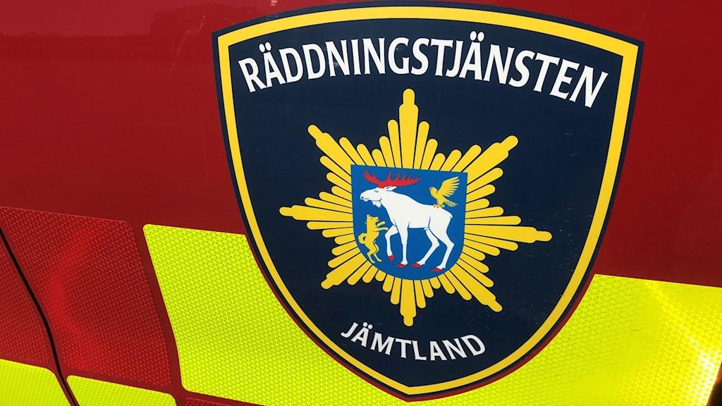 En närbild på loggan till Räddningstjänsten Jämtland