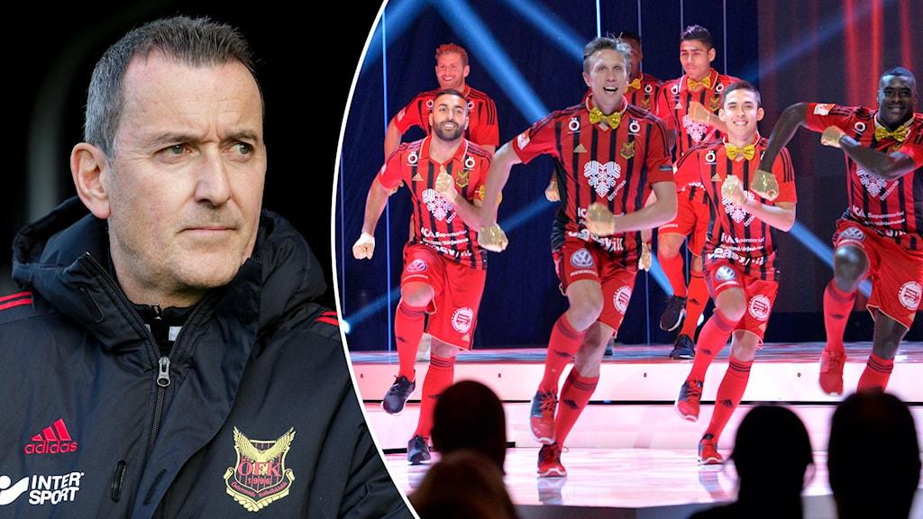 ÖFK :s huvudtränare Per Joar Hansen och fotbollsspelare i rödsvartrandiga matchställ om dansar på en scen