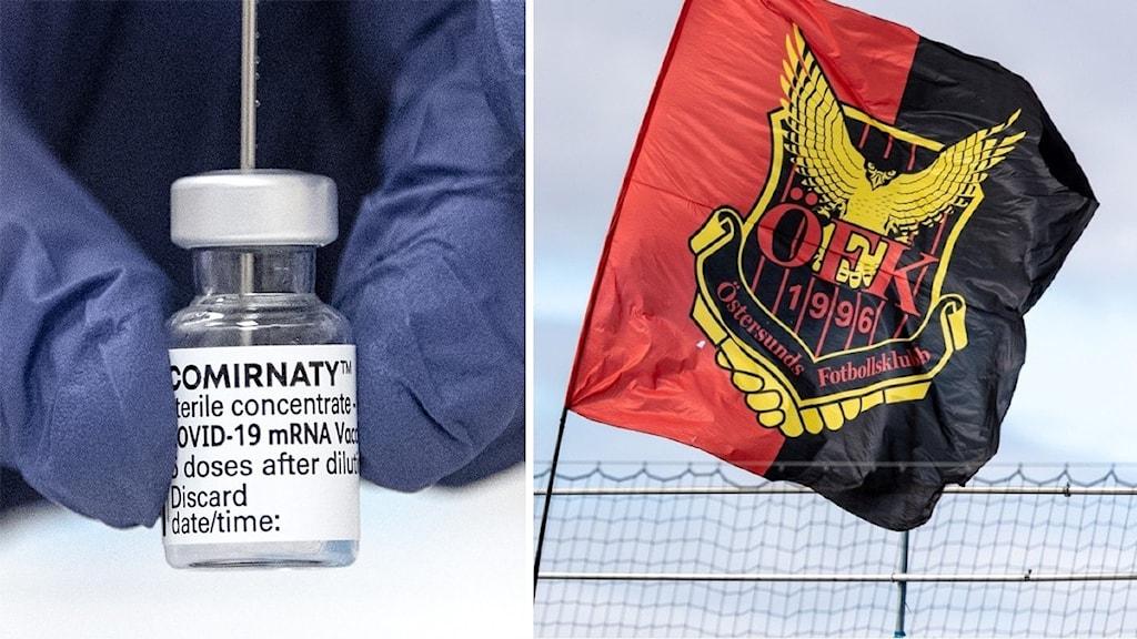 en vaccinflaska och en öfk-flagga