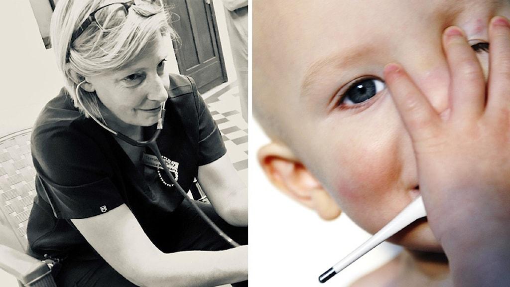 En kvinnlig barnläkare och en baby