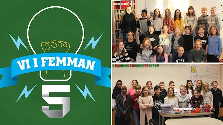 Tre bilder kollage: Logotyp Vi i femman grön botten samt två klassbilder